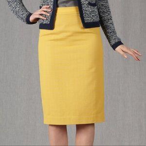 Boden Draycott Mustard Yellow Tweed Pencil Skirt